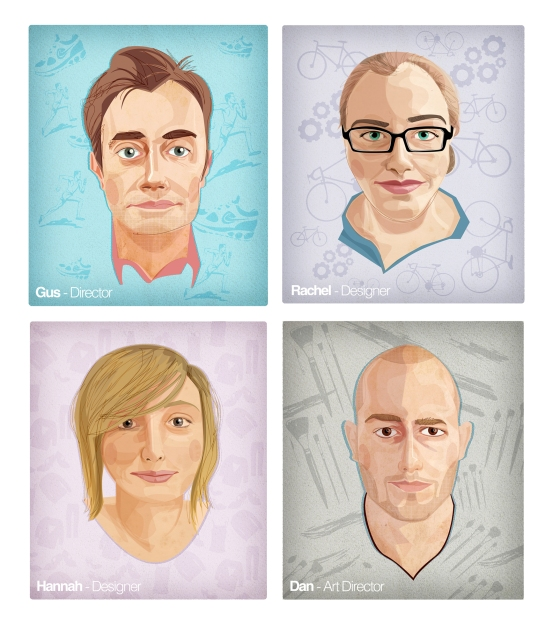 A set of portraits of the Guerilla Team